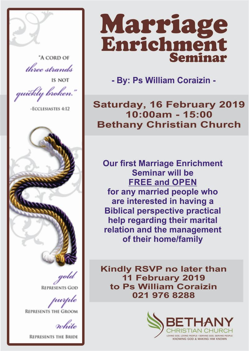 Bethany Marriage Seminar - Session 1 2019 Invite